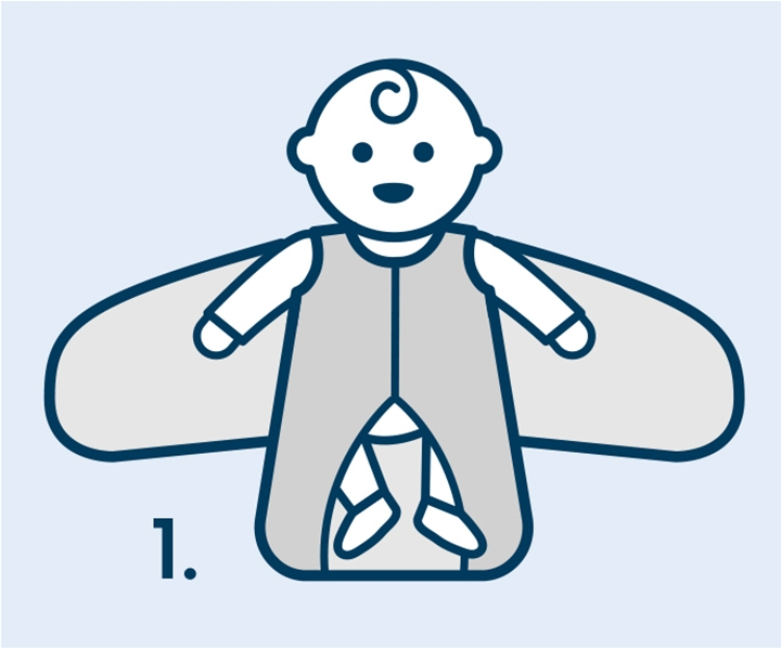 Step one of how to swaddle a baby with HALO SleepSack swaddle