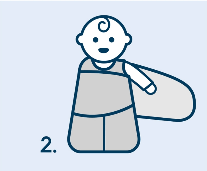 Step two of how to swaddle a baby with HALO SleepSack swaddle