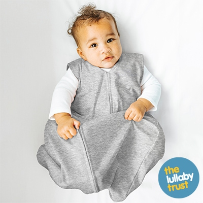 Baby wearing HALO SleepSack sleeping bag 0.5 TOG Heather Grey